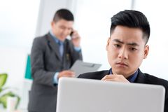 Serious Vietnamese manager Stock Image