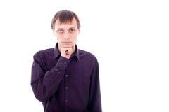 Serious weirdo man. Portrait of weirdo man thinking, isolated on white background Stock Image