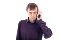 Serious weirdo man on the phone. Isolated on white background Royalty Free Stock Photos