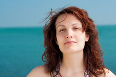 Serious Woman on a Beach Stock Image