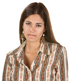 Serious Woman Biting Her Lip Stock Photo