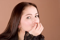 Serious Woman in black Royalty Free Stock Images