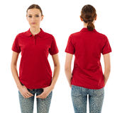 Serious woman with blank red polo shirt Stock Image