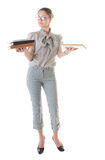 Serious woman with books Royalty Free Stock Photos