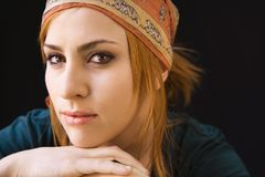 Serious woman in cap Royalty Free Stock Photo