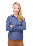 Serious woman cross arm Royalty Free Stock Photography