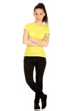 Serious woman with crossed arms. Royalty Free Stock Photography
