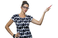 Serious Woman in a Dress Holding Ballpoint Pen Royalty Free Stock Photos
