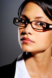Serious woman with glasses Stock Image