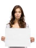 Serious woman handing copyspace Stock Photos