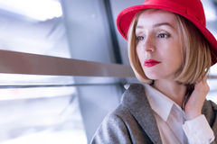Serious Woman in a Hat. Copy Space Stock Photography