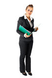 Serious woman holding folders with documents Stock Photos