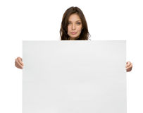 Serious woman keeping copyspace Stock Photography