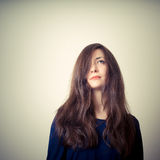 Serious woman with long hair Royalty Free Stock Photos