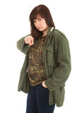 Serious woman in military jacket pointing you Stock Images