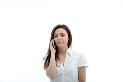 Serious Woman On Mobile Phone Royalty Free Stock Photo
