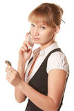 Serious woman with phone and watch Stock Images