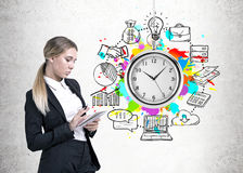 Serious woman with a planner, time management Royalty Free Stock Images