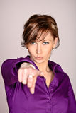 Serious Woman Pointing At You Stock Photo