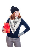Serious woman with present Royalty Free Stock Photo