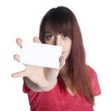Serious Woman Showing Empty White Small Card Royalty Free Stock Photos