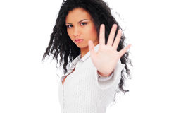 Serious woman showing negation. Isolated on white background Royalty Free Stock Photo