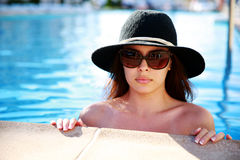 Serious woman in swimming pool Stock Photography