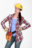Serious woman with tools. Raring to go Stock Photos