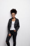 Serious woman wearing a black leather jacket Royalty Free Stock Photo