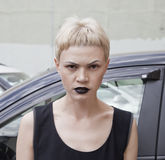 Serious woman witn black lipstick Royalty Free Stock Images