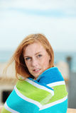 Serious Woman Wrapped In Bath Towel Stock Photo