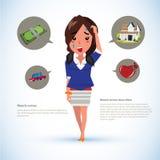Serious women with icons. money. car. house. broken heart - vect Stock Photos