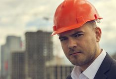 Confident construction worker stock image