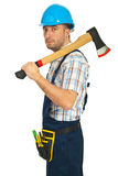 Serious worker man with axe Royalty Free Stock Photo