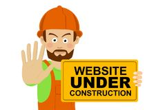 Serious worker man wearing hard hat holding banner with website under construction text showing stop gesture Stock Images