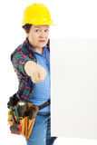 Serious Worker Points with Sign royalty free stock images