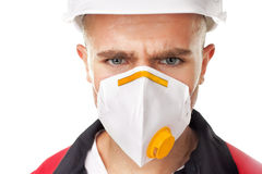Serious worker wearing respirator Royalty Free Stock Photos