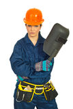 Serious worker woman with welding mask Royalty Free Stock Photography