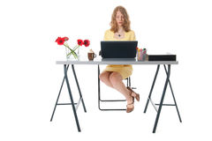Serious working woman at the office Stock Photos