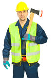 Serious workman holding axe Stock Photos