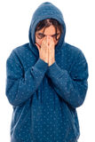 Serious worried man in hoodie Royalty Free Stock Photo