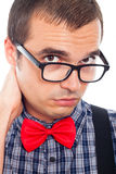 Serious worried nerd man Stock Photo