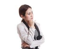 Serious  young Asian woman  look away. Royalty Free Stock Photos