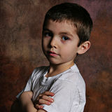 Serious Young Boy stock image