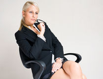 Serious young business woman. Royalty Free Stock Image