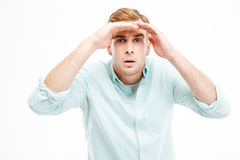 Serious Young Businessman Straring And Looking Far Away Royalty Free Stock Image