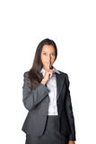 Serious young businesswoman asking for silence Royalty Free Stock Image