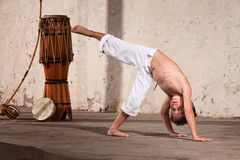 Serious Young Capoeira Student Royalty Free Stock Image