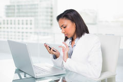 Serious young dark haired businesswoman using a mobile phone Royalty Free Stock Photos