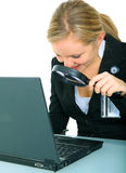 Serious Young Female Looking At Laptop stock images